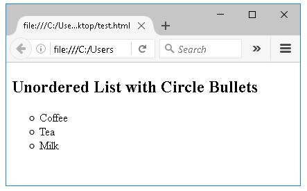 μη ταξινομημένη λίστα με κύκλους