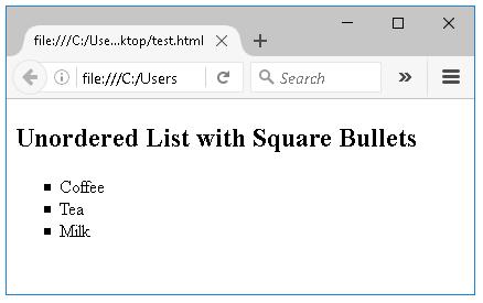 μη ταξινομημένη λίστα με τετράγωνα