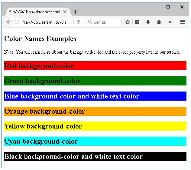 ονόματα χρωμάτων
