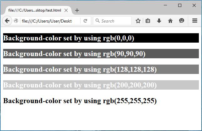rgb αποχρώσεις του γκρι στην html
