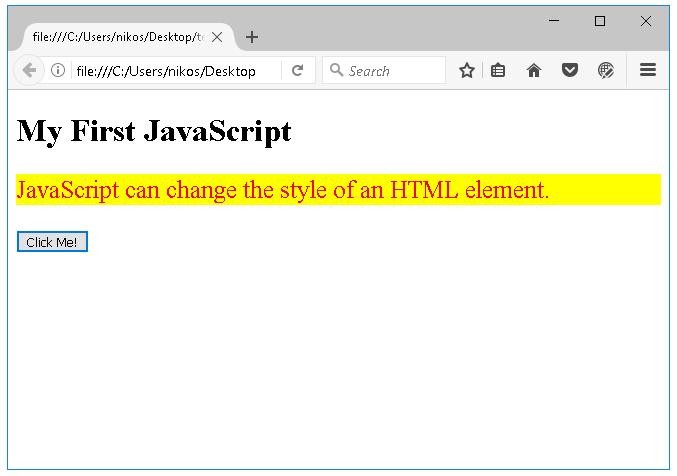 Παράδειγμα χρήσης της javascript στην html μετά