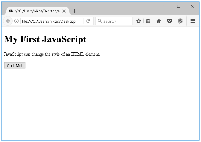 Παραδείγμα χρήσης της javascript στην html πριν