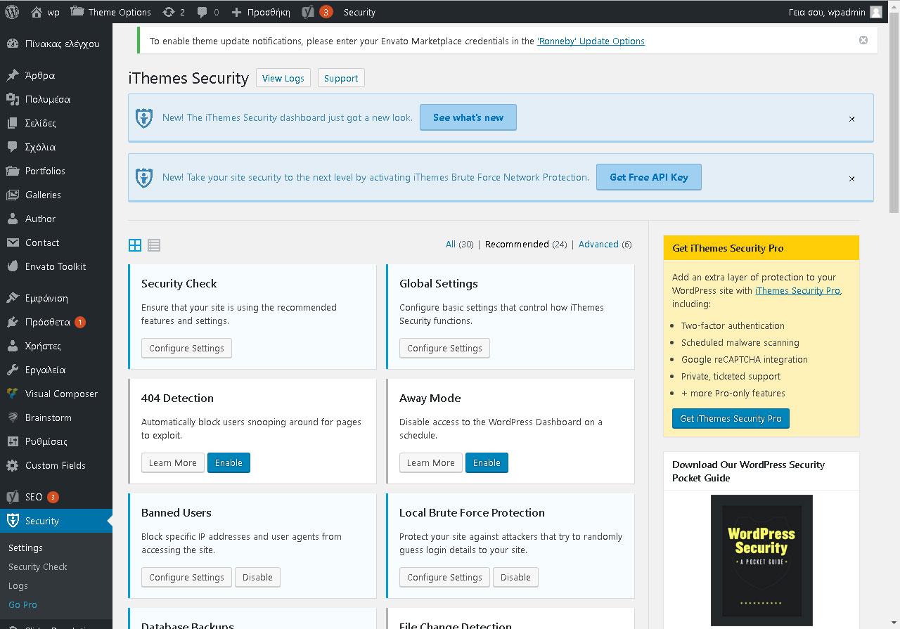 Επιλογές του πρόσθετου «iThemes Security»