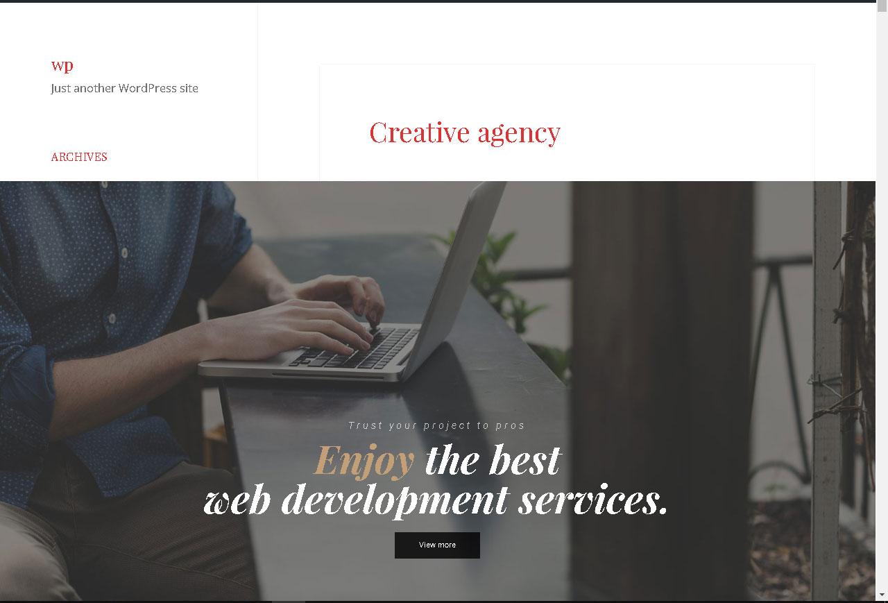 Η ιστοσελίδα μας μετά από την εφαρμογή των αλλαγών στα χρώματα μέσω του πρόσθετου «Customify»