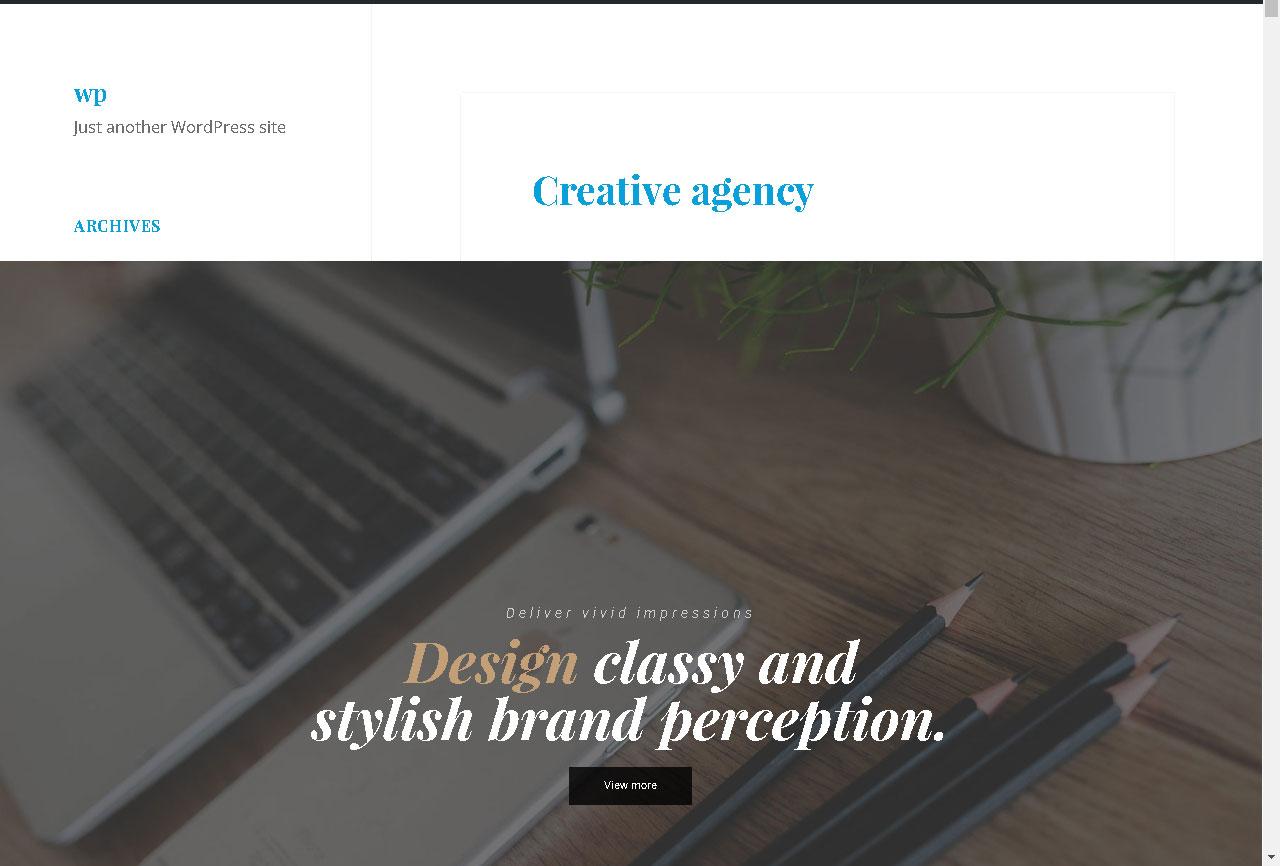 Η ιστοσελίδα μας πριν από την εφαρμογή των αλλαγών στα χρώματα μέσω του πρόσθετου «Customify»