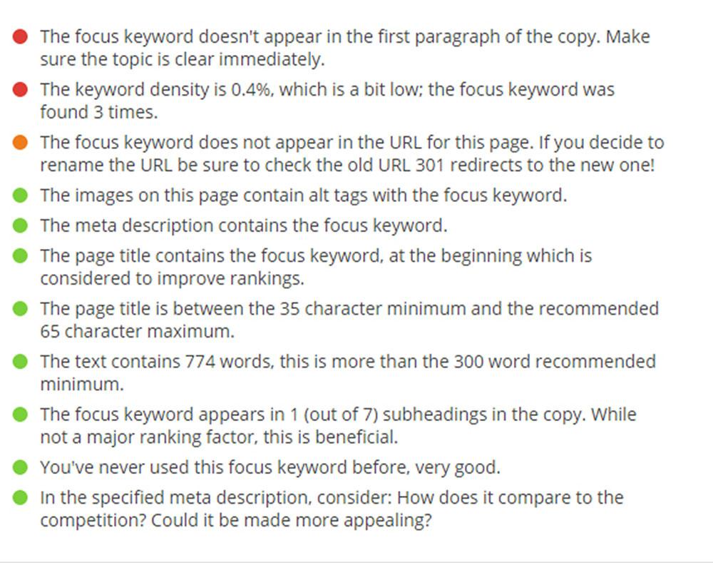 Παρουσίαση της πληροφορίας από το Yoast SEO plugin
