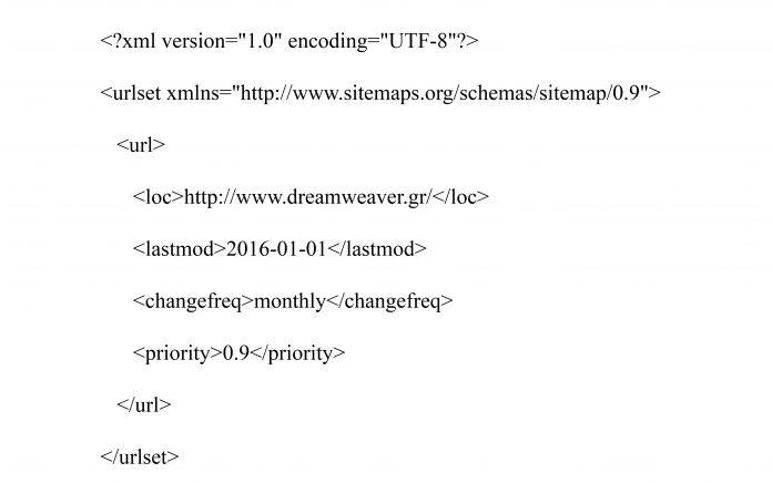 Παράδειγμα xml sitemap