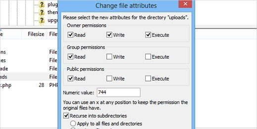 directories file permissions