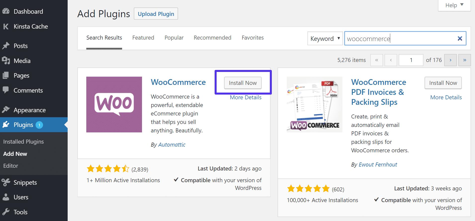 Εγκατάσταση του WooCommerce