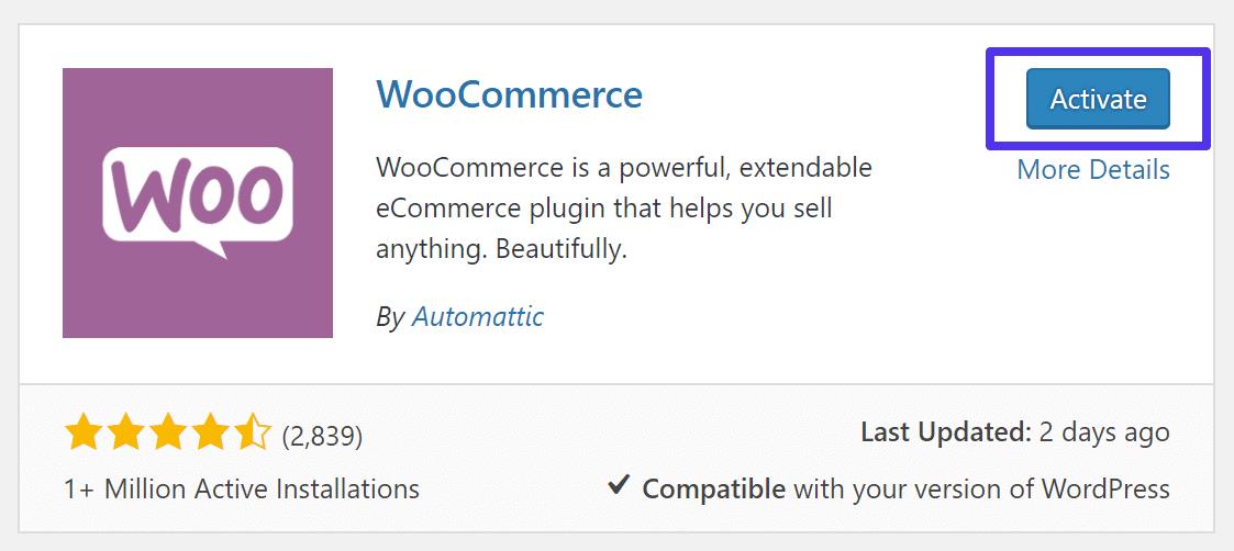 Ενεργοποίηση του WooCommerce