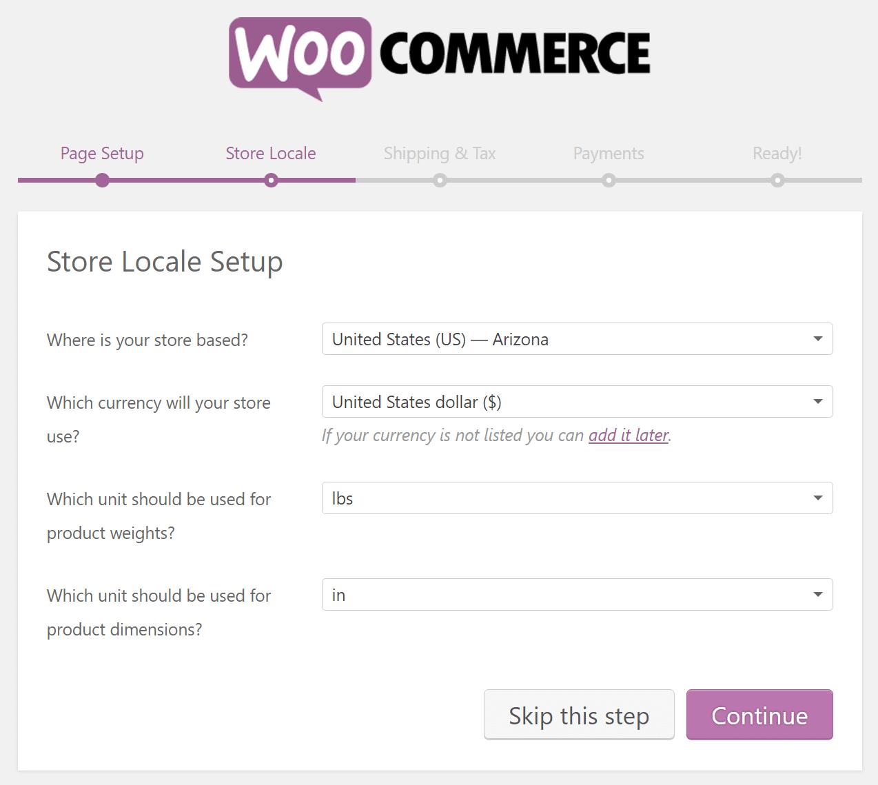Διαμόρφωση τοπικών ρυθμίσεων του WooCommerce