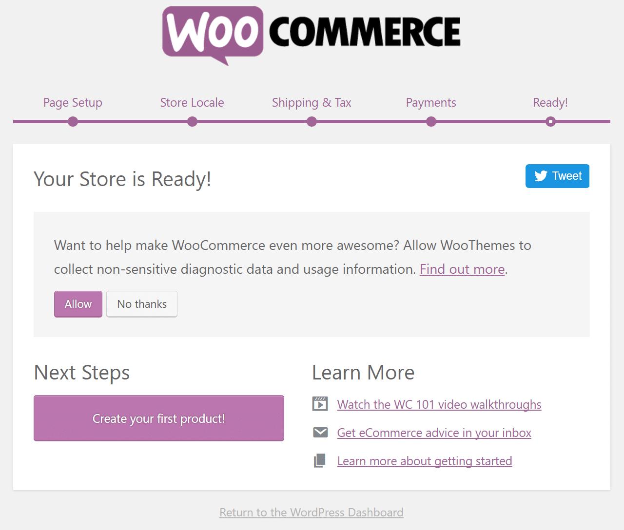 Ολοκλήρωση εγκατάστασης του WooCommerce